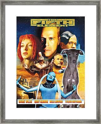 Italian Greyhound Art Canvas Print - The Fifth Element Movie Poster Framed Print by Sandra Sij