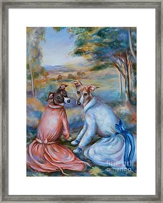 Italian Greyhounds Renoir Style Framed Print