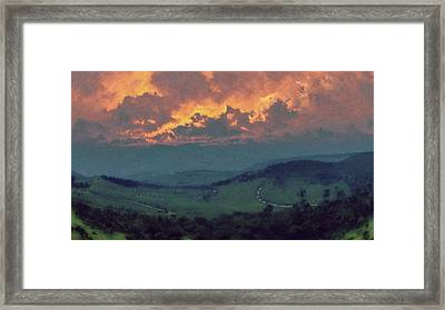 Italian Hills Sunset Framed Print by Lonnie Christopher