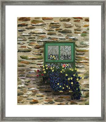 Italian Lace Window Box Framed Print by Cecilia Brendel