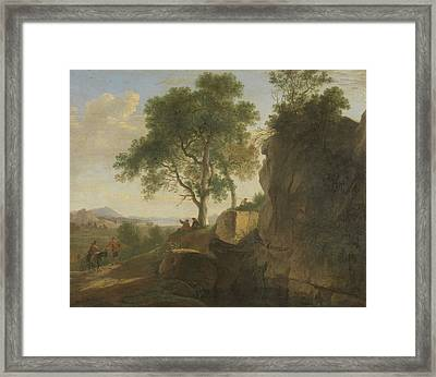 Italian Landscape, Herman Van Swanevelt Framed Print