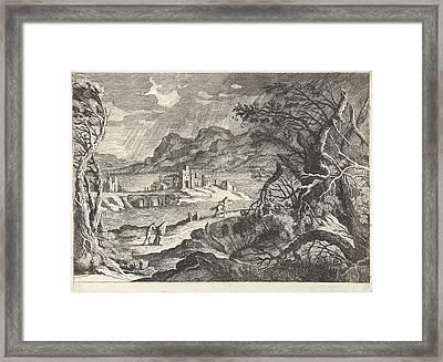 Italian Landscape In The Storm, Willem Van De Lande Framed Print