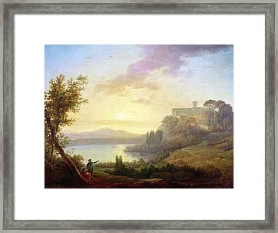 Italian Landscape, Setting Sun Framed Print