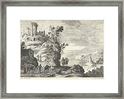 Italian Landscape With A Ruin, Willem Van De Lande Framed Print