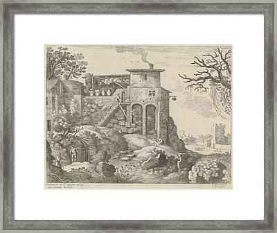 Italian Landscape With An Inn, Willem Van Nieulandt II Framed Print