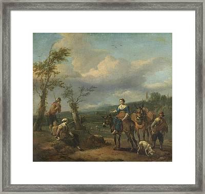 Italian Landscape With Figures, Johannes Lingelbach Framed Print