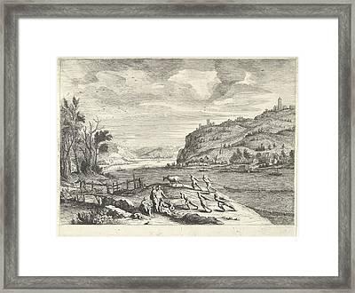 Italian Landscape With Fishermen, Print Maker Willem Van De Framed Print