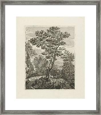 Italian Landscape With Peasants, Herman Löwenstam Framed Print