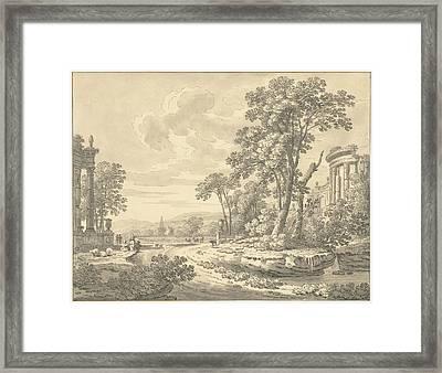 Italian Landscape With Ruins, Johann Heinrich Müntz Framed Print