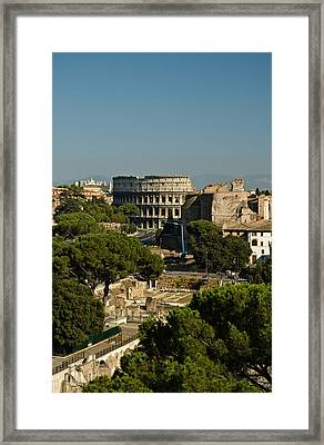 Framed Print featuring the photograph Italian Landscape With The Colosseum Rome Italy  by Marianne Campolongo