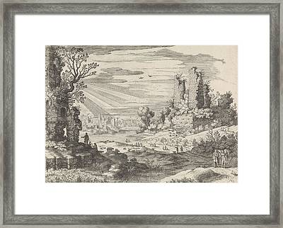 Italian Landscape With Tobias And The Angel Framed Print