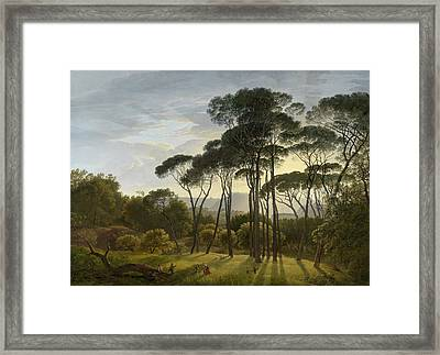 Italian Landscape With Umbrella Pines, Hendrik Voogd Framed Print
