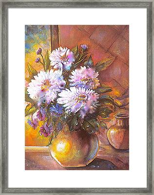 Framed Print featuring the painting Italian Mums In Gold by Patricia Schneider Mitchell