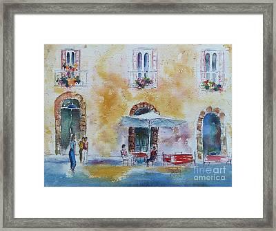 Italian Piazza Framed Print by Carolyn Jarvis