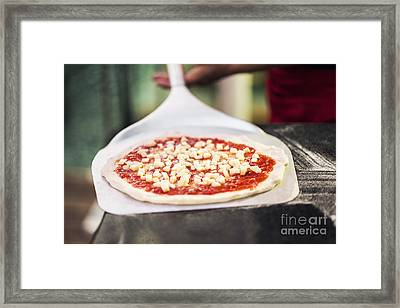 Italian Pizza Ready For The Oven Framed Print
