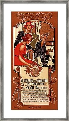 Italian Poster For Le Centenaire De La Découverte De La Framed Print