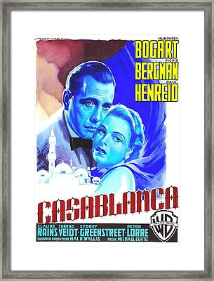 Italian Poster Of Casablanca Framed Print by Art Cinema Gallery