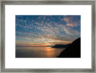 Framed Print featuring the photograph Italian Riviera Sunset by Carl Amoth