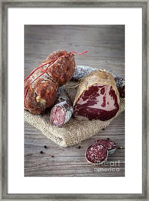 Italian Salami Assortment Framed Print by Sabino Parente