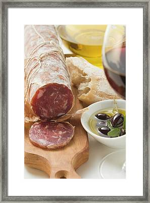 Italian Salami, Olives In Olive Oil, White Bread Framed Print