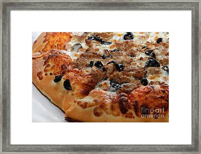 Italian Sausage And Olive Pizza 2 Framed Print by Andee Design