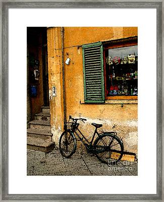 Italian Sidewalk Framed Print by Nancy Bradley