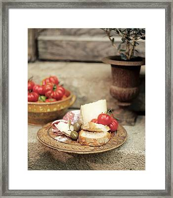 Italian Snack: Cheese, Hard Cured Sausage, Olives And Tomatoes Framed Print