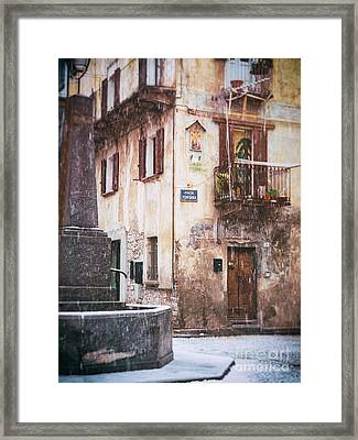 Framed Print featuring the photograph Italian Square In  Snow by Silvia Ganora