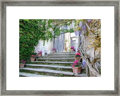 Italian Staircase With Flowers Framed Print