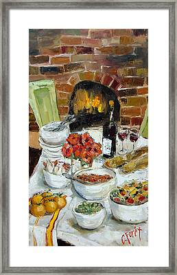 Italian Table Framed Print by Carole Foret