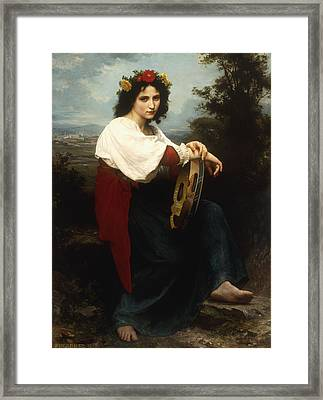 Italian Woman With A Tambourine Framed Print by William Adolphe Bouguereau