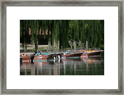 Riva Wooden Runabouts Framed Print by Steven Lapkin