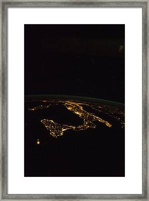 Italy At Night, Iss Image Framed Print by Science Photo Library