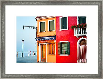 Italy Burano Fish Shop Framed Print by Joan Herwig