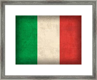 Italy Flag Vintage Distressed Finish Framed Print