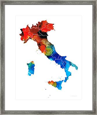 Italy - Italian Map By Sharon Cummings Framed Print by Sharon Cummings