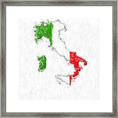 Italy Painted Flag Map Framed Print