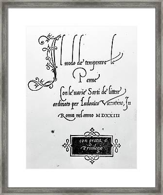 Italy Penmanship, 1523 Framed Print by Granger