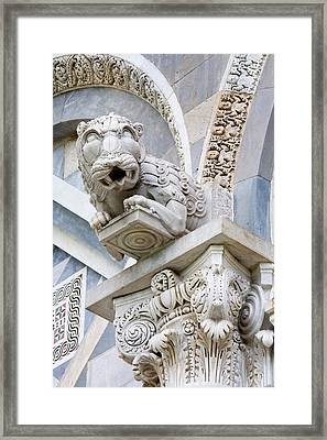 Italy, Pisa A Gargoyle Above The Front Framed Print by Jaynes Gallery