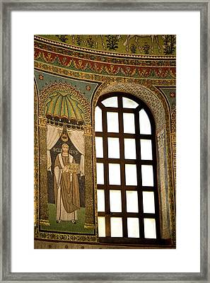 Italy, Ravenna Mosaics And Window Framed Print