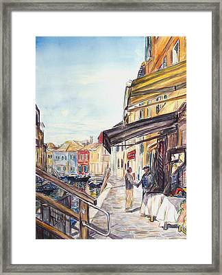 Framed Print featuring the painting Italy Shop How Are You Doing by Becky Kim