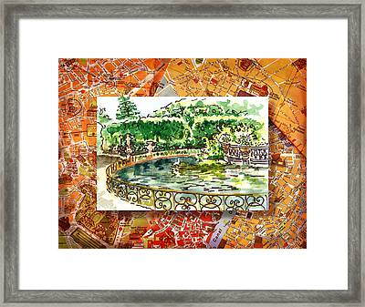 Italy Sketches Florence Boboli Gardens Of Pitti Palace Framed Print
