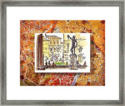 Italy Sketches Florence Palazzo Vecchio Piazza  Framed Print