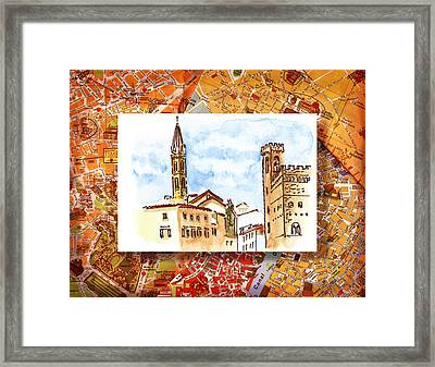 Italy Sketches Florence Towers Framed Print
