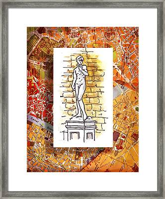 Italy Sketches Michelangelo David Framed Print