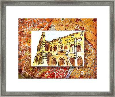 Italy Sketches Rome Colosseum Ruins Framed Print