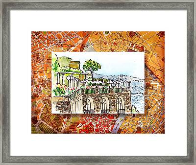 Italy Sketches Sorrento Cliff Framed Print