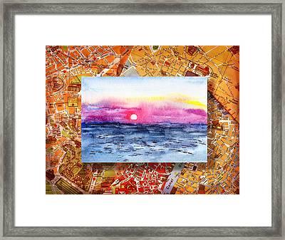 Italy Sketches Sorrento Sunset Framed Print by Irina Sztukowski