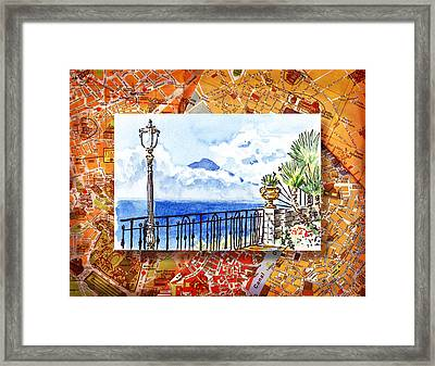Italy Sketches Sorrento View On Volcano Vesuvius  Framed Print by Irina Sztukowski