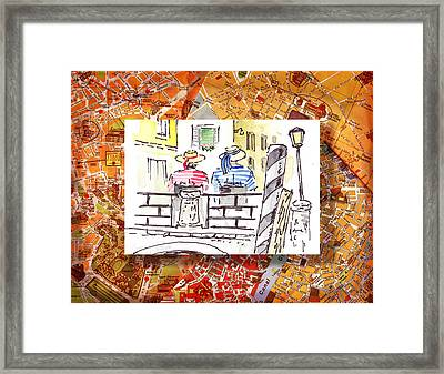 Italy Sketches Venice Two Gondoliers Framed Print